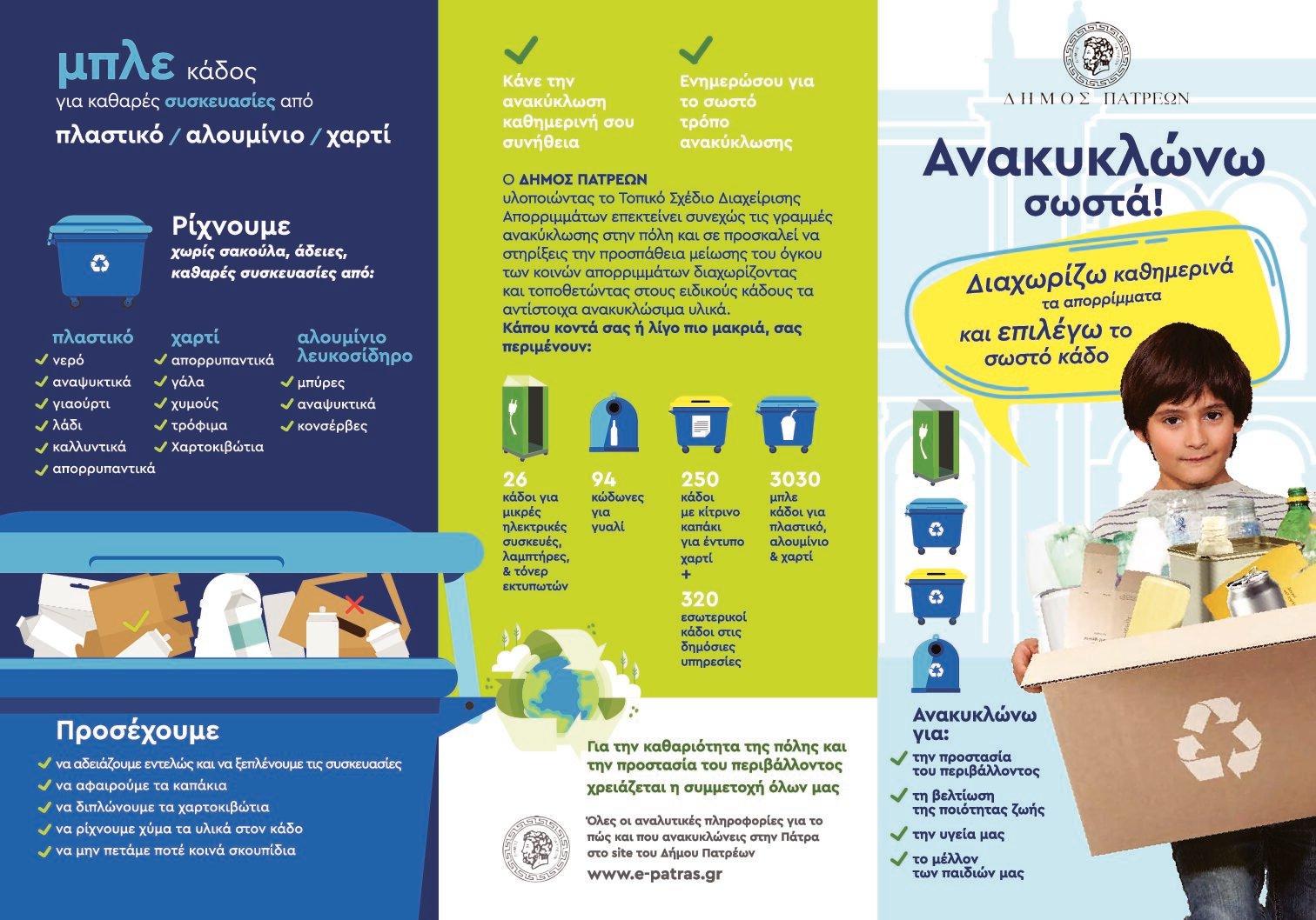 Πάτρα: Ο Δήμος ενημερώνει για την ανακύκλωση