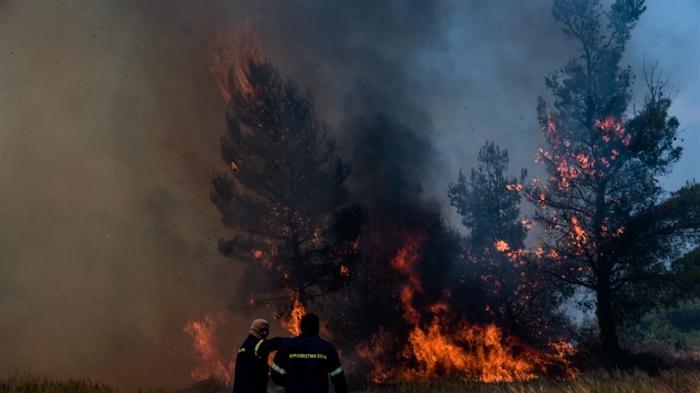 Φωτιά στη Μακρακώμη Φθιώτιδας: Εκλεισε η Εθνική Οδός