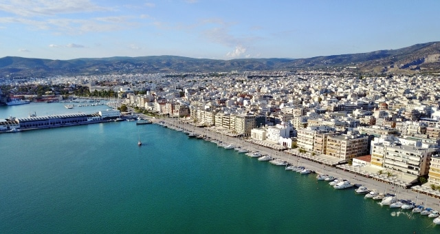 aerial view port volos houses mountain sailing boats ferries