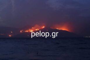 Το πύρινο μέτωπο της Φωκίδας από την παραλία Διακοπτού - ΦΩΤΟ