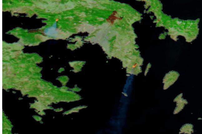 Δορυφορική απεικόνιση των ενεργών μετώπων σε Βίλια και Κερατέα