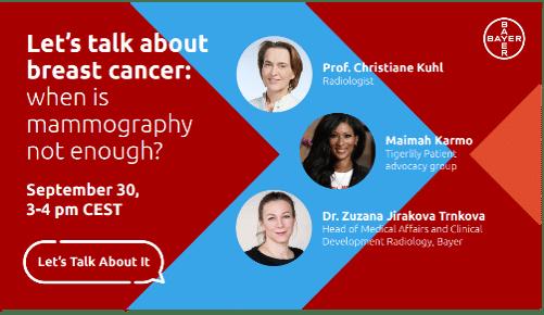 Διαδικτυακή εκδήλωση από την Bayer Ελλάς: Ας μιλήσουμε για τον καρκίνο του μαστού: πότε η μαστογραφία δεν είναι αρκετή;