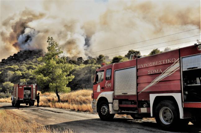 Φωτιά στο Μαρμάρι Ευβοίας - Ισχυροί άνεμοι στην περιοχή