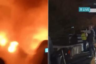 Φωτιά σε απορριμματοφόρο από διαρροή καυσίμου τα ξημερώματα ΒΙΝΤΕΟ