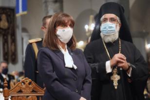 Η Κατερίνα Σακελλαροπούλου στον Πολιούχο της Θεσσαλονίκης
