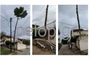 Λουσικά Αχαΐας: Υποχώρησε μάντρα από την κακοκαιρία, κίνδυνος πτώσης δένδρου σε καλώδια - ΦΩΤΟ