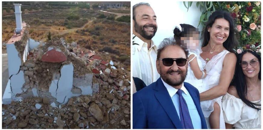 """Κρήτη: Στο εκκλησάκι που γκρέμισε ο Εγκέλαδος έγινε νονά η Ντέμι Μουρ -  Βάπτισε το παιδάκι του Πατρινού ζεύγους """"Στέγγου"""" - Pelop.gr   Ειδήσεις νέα  Πάτρα"""